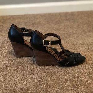 Jessica Simpson Black Wedge Sandals